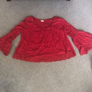 Hollister size small boho ruby red shirt
